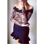 Sexy Slash Collar Long Sleeve Laciness Leopard Print T-Shirt For Women black
