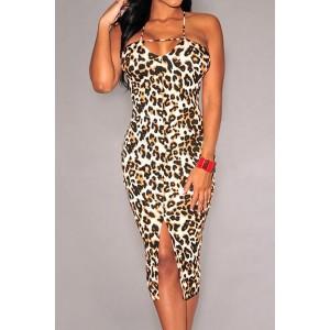 Sexy Spaghetti Strap Sleeveless Leopard Print Furcal Dress For Women lepoard