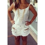 Sexy Spaghetti Strap Sleeveless Spliced Backless Tank Top For Women white
