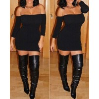 Sexy Strapless Long Sleeve Solid Color Bodycon Dress For Women black