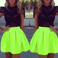 Sexy Turtle Neck Short Sleeve Lace See-Through Blouse + Solid Color Skirt Twinset For Women black green