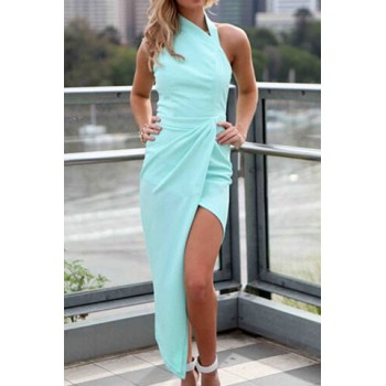 Sexy Turtle Neck Sleeveless Solid Color Asymmetrical Dress For Women red green