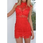 Sexy Turtle Neck Sleeveless Solid Color See-Through Lace Dress For Women red black white