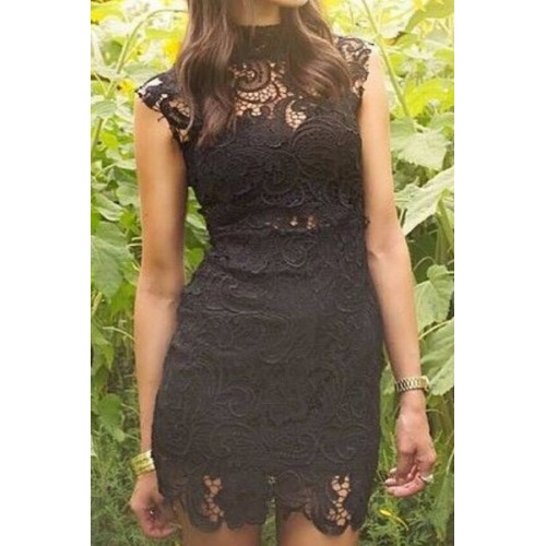Sexy Turtle Neck Sleeveless Solid Color See Through Lace Dress For