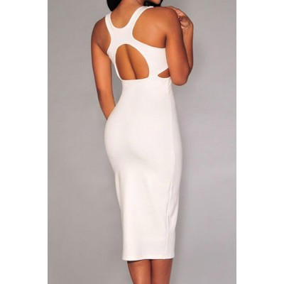 Sexy U-Neck Sleeveless Solid Color Hollow Out Low Cut Dress For Women black white plum