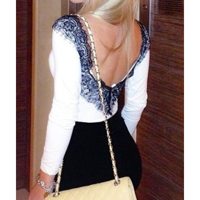 Sexy V-Neck Long Sleeve Backless Lace Embellished T-Shirt For Women white