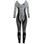 Sexy V-Neck Long Sleeve Spliced Hollow Out Leopard Print Jumpsuit For Women black