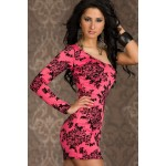 Sexy Women's Floral Print Long Sleeve Bodycon One-Sloulder Dress red white