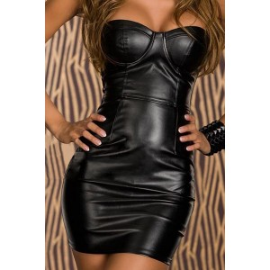 Sexy Women's Strapless PU Leather Splicing Bodycon Dress black