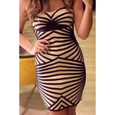 Sexy Women's Striped Strapless Bodycon Dress black white