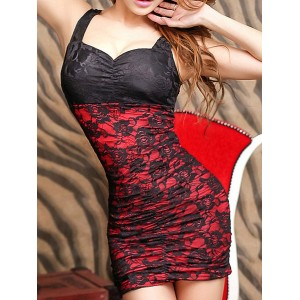 Sexy Women's Sweetheart Neckline Lace Dress red pink