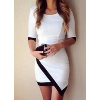 Simple Scoop Neck 1/2 Sleeve Color Block Bodycon Dress For Women white