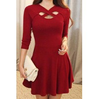 Simple V-Neck 3/4 Sleeve Solid Color Hollow Out Criss-Cross Dress For Women red