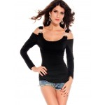 Solid Color Cut Out Polyester Sexy Style Long Sleeves T-Shirt For Women black red white