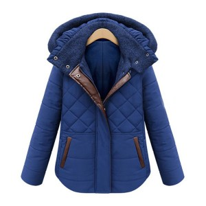 Stand Collar Long Sleeves PU Leather Splicing Zippered Stylish Hooded Coat For Women blue black