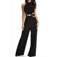 Stylish Halter Sleeveless Hollow Out Solid Color Jumpsuit For Women black