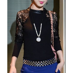 Stylish Jewel Neck Long Sleeve Spliced Hollow Out Knitwear For Women gray black