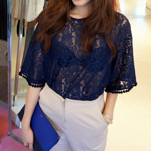Stylish Round Neck 1 2 Sleeve Solid Color See Through Blouse For
