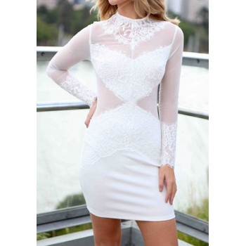 Stylish Round Neck Mesh Splicing Long Sleeve Dress For Women black white