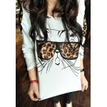 Stylish Scoop Neck Long Sleeve Leopard Glass Cat Pattern T-Shirt For Women white
