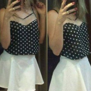 Stylish Spaghetti Strap Sleeveless Polka Dot Spliced Tank Top For Women black