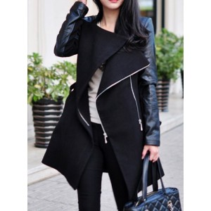 Stylish Stand-Up Collar Long Sleeve Zippered Spliced Coat For Women black gray khaki