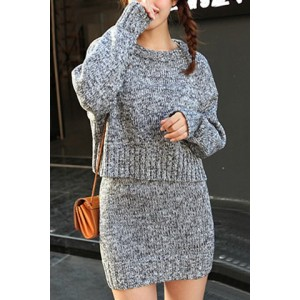 Stylish Suits Jewel Neck Long Sleeves Cable-knit Sweater and Skirt For Women gray