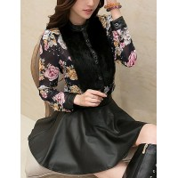 Stylish Suits Long Sleeves Faux Fur Splicing Floral Print Blouse and Skirt For Women