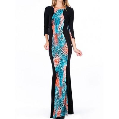 Stylish Women's Jewel Neck Printed 3/4 Sleeve Bodycon Dress black