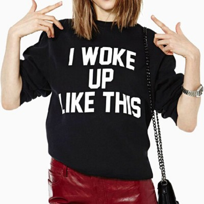 Stylish Women's Round Neck Letter Print Long Sleeve Sweatshirt black