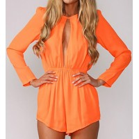 Stylish Women's Round Neck Long Sleeve Hollow Out Jumpsuit blue orange