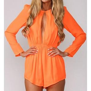Stylish Women's Round Neck Long Sleeve Hollow Out Jumpsuit blue orange