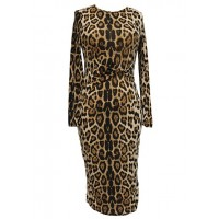 Stylish Women's Round Neck Long Sleeve Leopard Print Dress