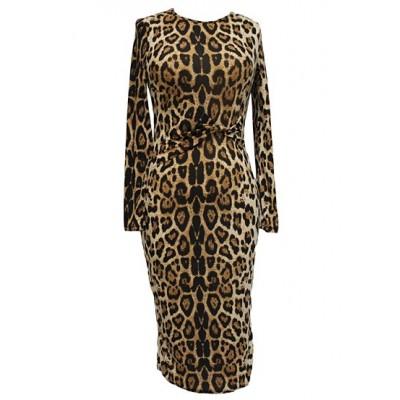 Stylish Women's Round Neck Long Sleeve Leopard Print Dress