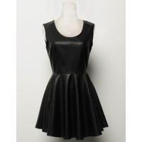 Stylish Women's Scoop Neck Sleeveless Black PU Leather Dress black