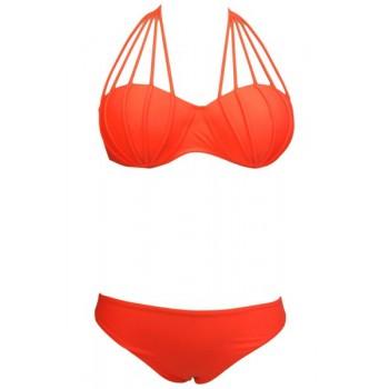 Stylish Women's Solid Color Halter Bikini Set orange black white