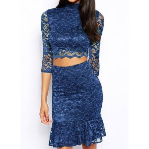 Stylish Women's Stand Collar 3/4 Sleeve Ruffled Lace Suit blue