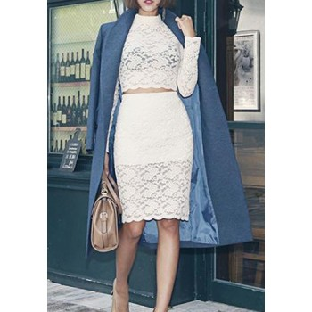 Stylish Women's Turtleneck Long Sleeve Lace Suit black white
