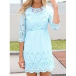 Sweet Round Neck 3/4 Sleeve Hollow Out Solid Color Dress For Women blue