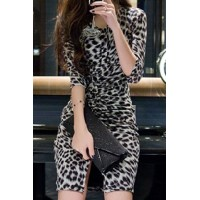 V-Neck Half Sleeves Leapard Print Pleated Slit Stylish Dress For Women