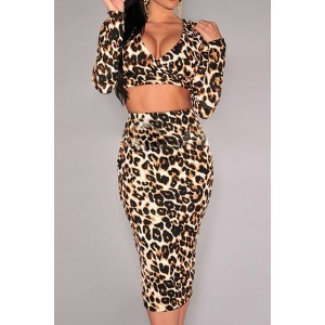 V-Neck Long Sleeves Leopard Print Short T-Shirt and Skirt Stylish Suit For Women