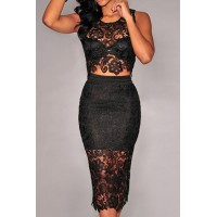 V-Neck Sleeveless Solid Color Lace Short Blouse and Skirt Stylish Suit For Women black white