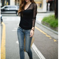 Voile Splicing V-Neck Long Sleeve Casual T-Shirt For Women black