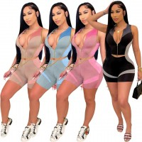 Two Piece Sets for Women Skinny Fashion Printing Women Tracksuit Zip Sleeveless Crop Top and Biker Shorts Two Piece Matching Set