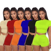 Women Summer Solid Open Back Crop Top Stacked Shorts Jogger Pnats Suit Two Piece Set Sport Matching Set Outfit Fitness Tracksuit