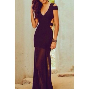 Alluring Plunging Neck Sleeveless Solid Color Hollow Out Dress For Women black