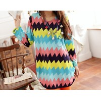 Casual Round Collar Color Matching Sawtooth Pattern Long Sleeves Blouse For Women