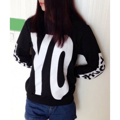 Casual Round Neck Long Sleeve Letter Print Loose-Fitting Sweatshirt For Women black