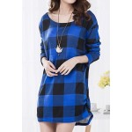 Casual Scoop Neck Long Sleeve Plaid Loose-Fitting T-Shirt For Women blue