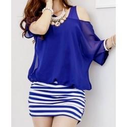 Casual Scoop Neck Short Sleeve Faux Twinset Spliced Striped Dress For Women blue black